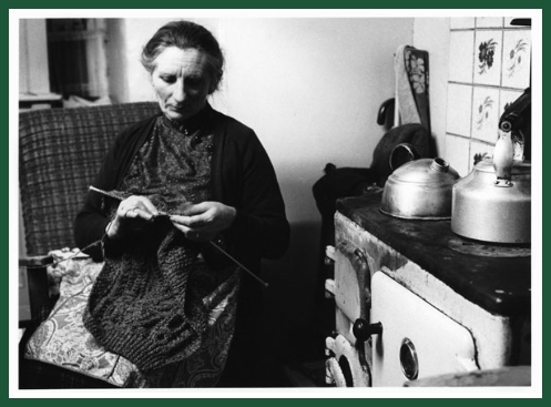 Steve Pyke, woman knitting, Irish kitchen